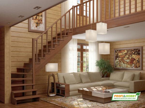 Лестница деревянная К-001м